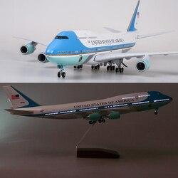 47CM juguetes de modelo de aviones Boeing 747 Air Force One modelo W luz y rueda 1/150 escala fundición plástico resina plano de aleación