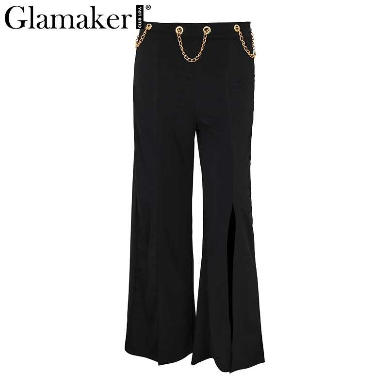 Glamaker Sexy frente split Pantalones mujer moda metal cadena señoras pantalones de verano de cintura alta pantalones de pierna ancha pantalones 2018