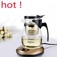 Best Price High quality Kamjove Glass Gongfu Tea Maker Press AUTO-OPEN Art tea Cup Teapot with Infuser TP-757 700ml elegant style free ship