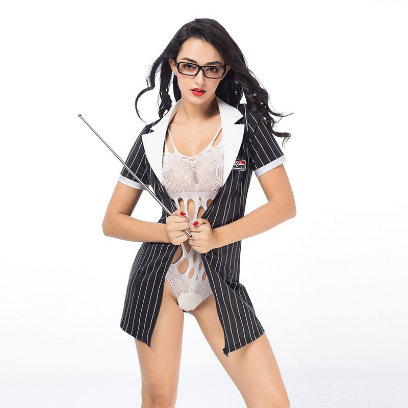 JSY Sexy Teacher uniforms outfit women sex suit 2 pieces bodystocking and stripe coat Hallowen costumes for role-playing games