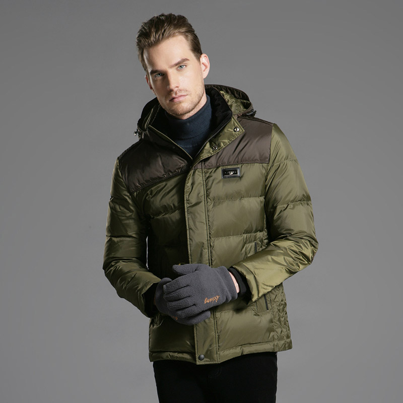 DZYS Men's Thick Duck   Down   Jacket   Down     Coat   with Hat Detachable for Men Male 3615