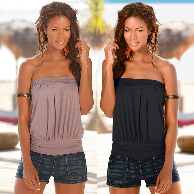 Mulheres Strapless Blusa Colete Design Elástica