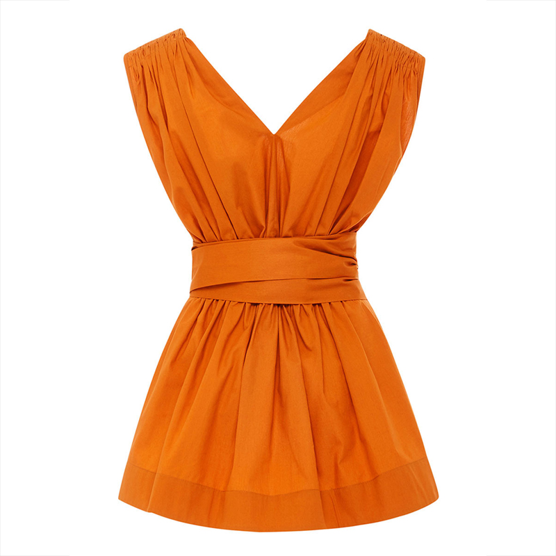 Young17 Summer Blouse 2018 Orange Pleated Backless Lace Up Women Sleeveless Plain Clothing Slim Summer V Neck Tops Women Blouse by Young17
