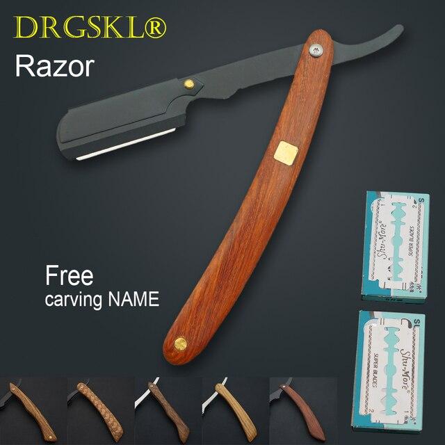 木製ハンドル理髪ヘアカットかみそりシェービングかみそり、プロ理容ナイフカミソリ替刃タイプナイフ