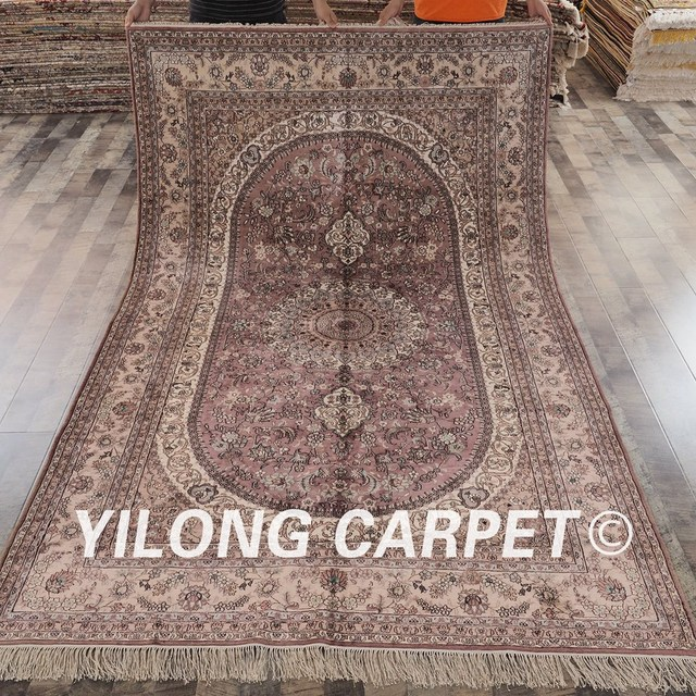 Yilong 6 X9 Antique Turkish Silk Carpet Medallion Pink Hand Knotted Oriental Rug