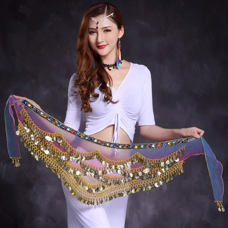 New style belly dance belt newest multi-color Snow spinning belly dancing belt scarf crystal bellydance waist chain GPD8618