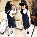 Retail Kids Girl Suspender Dress Girls Autumn Clothes 2015 New Teenage Girls Dresses Kids Clothes Girls Suspender Dress Black
