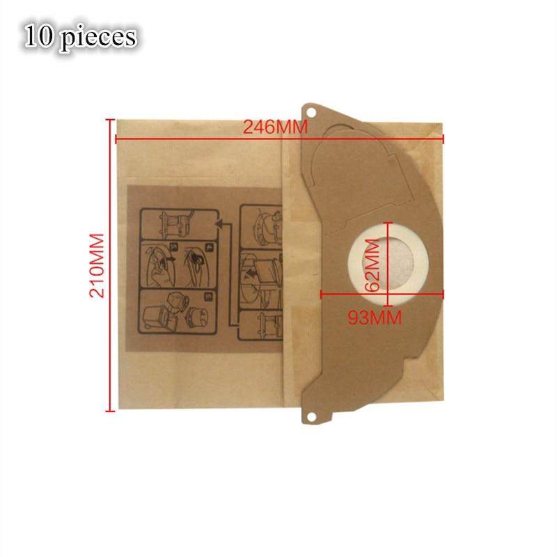 10 Pcs Vacuum Cleaner Paper Dust Bag Filter Bag For Karcher SE 5.100,SE 6.100,2501,2601,3001,A 2120,NT 181 Pro,SE 2001,SE 3001