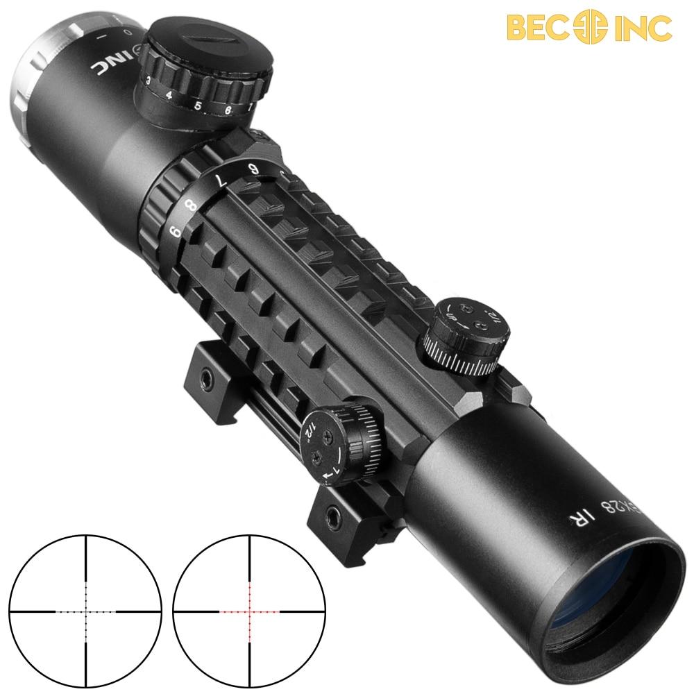 BEC 3-9X28 Green Red Cross Sight Scope Tactical Optics Riflescope Fit 20mm Rail Rifle Scopes For Hunting