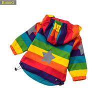 Spring Summer Baby Girls Boys Sunscreen Jacket 2018 Fashion Rainbow Stripe Hooded Coats Brand Children Windbreaker