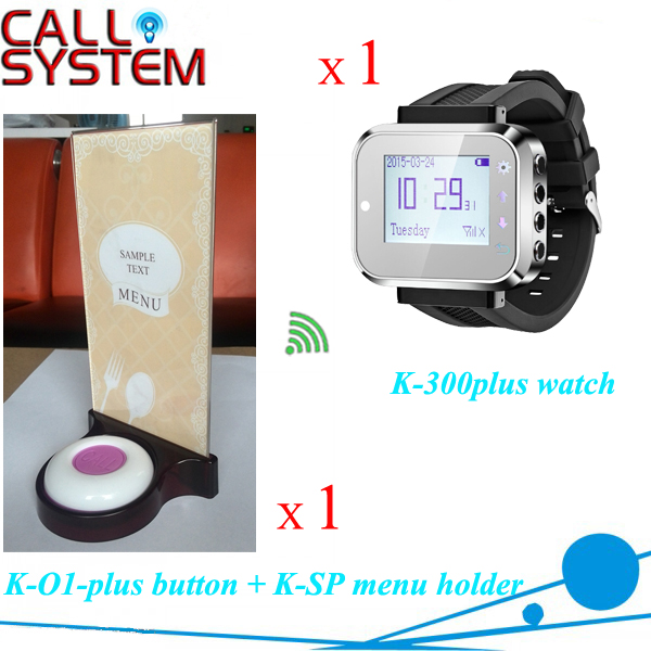 Restaurant Wireless Service Caller System 1 wrist watch 1 button 1 food menu stand one set wireless system waiter caller bell service 1 watch wrist pager with 5pcs table customer button ce passed