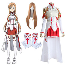 Anime Sword Art Online Asuna Yuuki Dress Cosplay Costumes Uniform for Halloween SAO Asuna Battle Suit Outfits Full Set with Wig cosplay 22 23cm sword art online yuuki asuna cos water blue wig 1 3 bjd sd dd doll wig