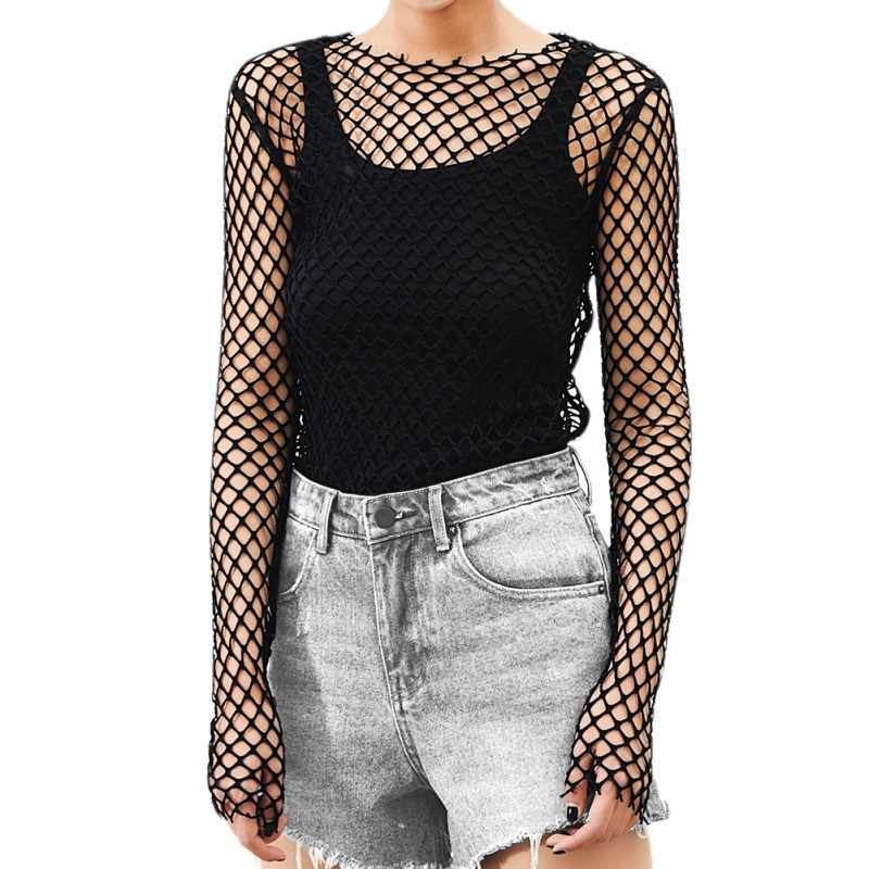 Hot 2019 Vrouwen See Through Perspectief Sheer Mesh Visnet Tee Bodycon Lange Mouwen Tops Strand T-shirt Ontwerp Party Club tops