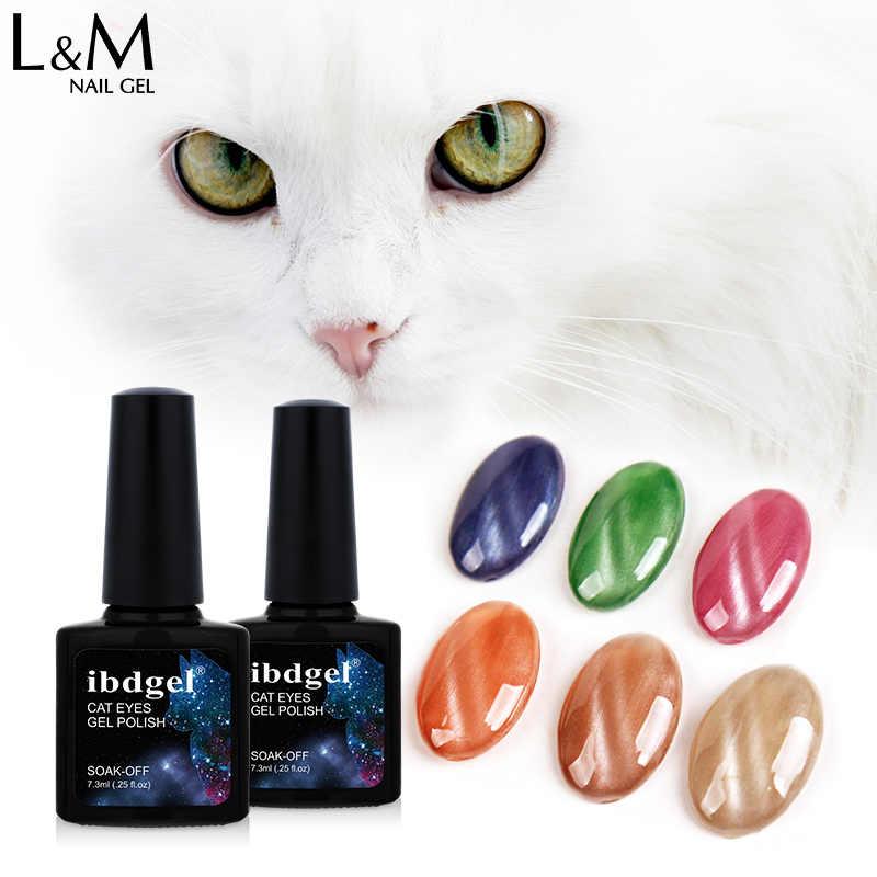 1pc ibdgel Jade Olhos de Gato Magnetic Soak Off Gel UV Verniz Gel Unha Polonês Cor 7.3ml de Longa Duração 12 cores Para Escolher
