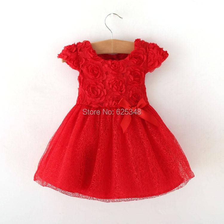Shitje me pakicë - Vajzat për fëmijë verë 2018 vishen hark Veshjet për fëmijë, fustanet e topave fëmijët fëmijët tutu vajzat e foshnjës vishen fustani i kuq i foshnjës