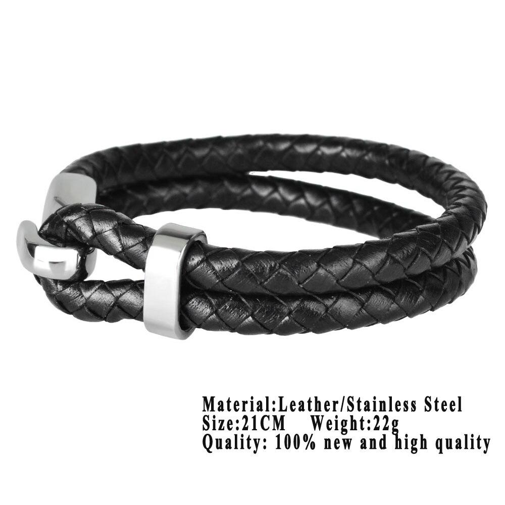 Kirykle vente chaude mode Bracelet en cuir pour hommes tresse multicouche corde chaîne en acier inoxydable crochet bracelet mâle bijoux cadeaux 5