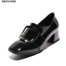 NEMAONE cow leather Low Heels Women Shoes Pumps Stiletto Woman Party Wedding Shoes Kitten Heels Plus Size 43