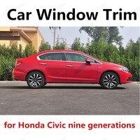 Otomobiller ve Motosikletler'ten Krom Şekillendirici'de Araba styling Için honda Civic dokuz nesil Araba Pencere Trim Olmadan Sütun Paslanmaz Çelik Dekorasyon Şeritleri