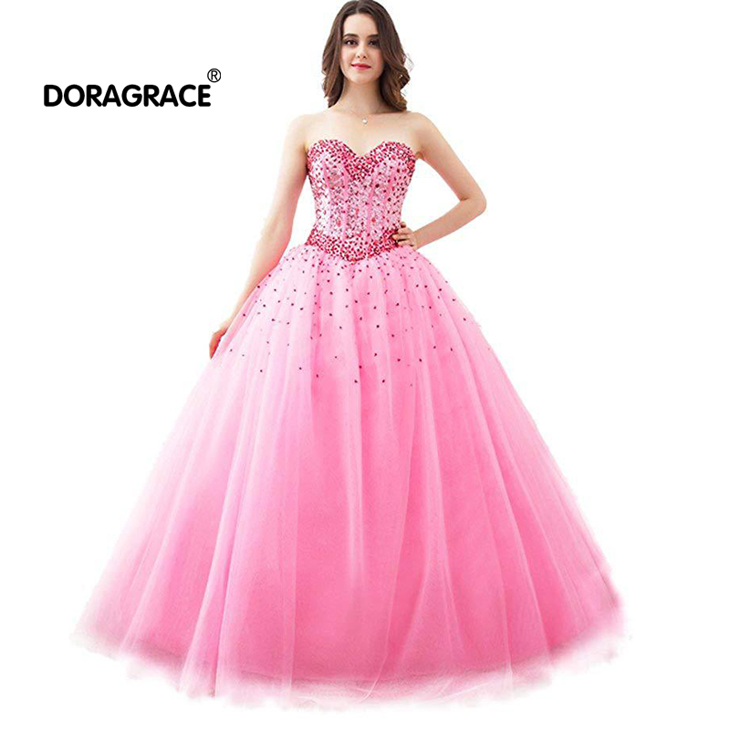 Doragrace robe de soiree Sweetheart Sleeveless Lace-Up Crystal Beaded Ball Gown Prom Dresses Evening Gowns