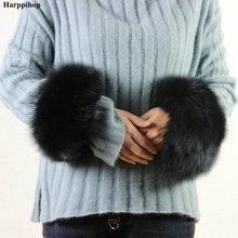 High Quality Wrist Genuine Fox Fur Cuff Arm Warmer Lady Bracelet Real Wristband Glove