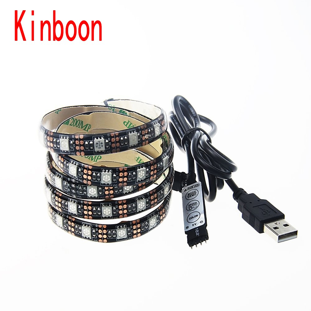 DC 5V USB LED strip 5050 RGB Flexible Light 50-500cm TV Background Lighting LED strip RF Controller Waterproof /Non waterproof