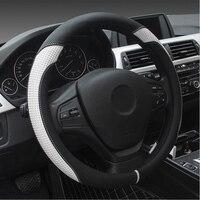 Micro Fiber Leather Car Steering Wheel Cover 37cm 38cm Anti slip Steering Wrap Car Interior Accessories Black White Blue