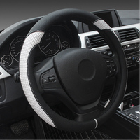Microfiber Leather Car Steering Wheel Cover Fits 37cm 38cm Universal Car Styling Automobile Accessories Black White Blue