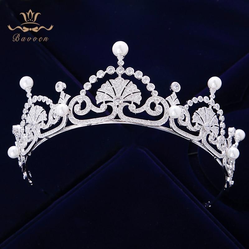 Top Quality Vintage Royal Queen Full Zircon Brides Crowns Tiaras Freshwater Pearls Wedding Headband Sliver Bridal