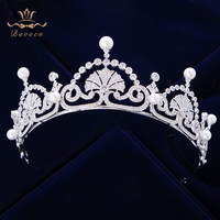 Top Quality Vintage Royal Queen Full Zircon Brides Crowns Tiaras Freshwater Pearls Wedding Headband Sliver Bridal Hair Accessory