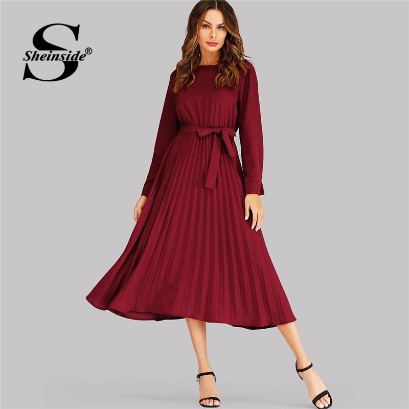 Sheinside Borgoña auto Tie plisado vestido elegante manga larga mujeres Vestidos Mujer fiesta noche 2019 señora una línea sólida larga vestido