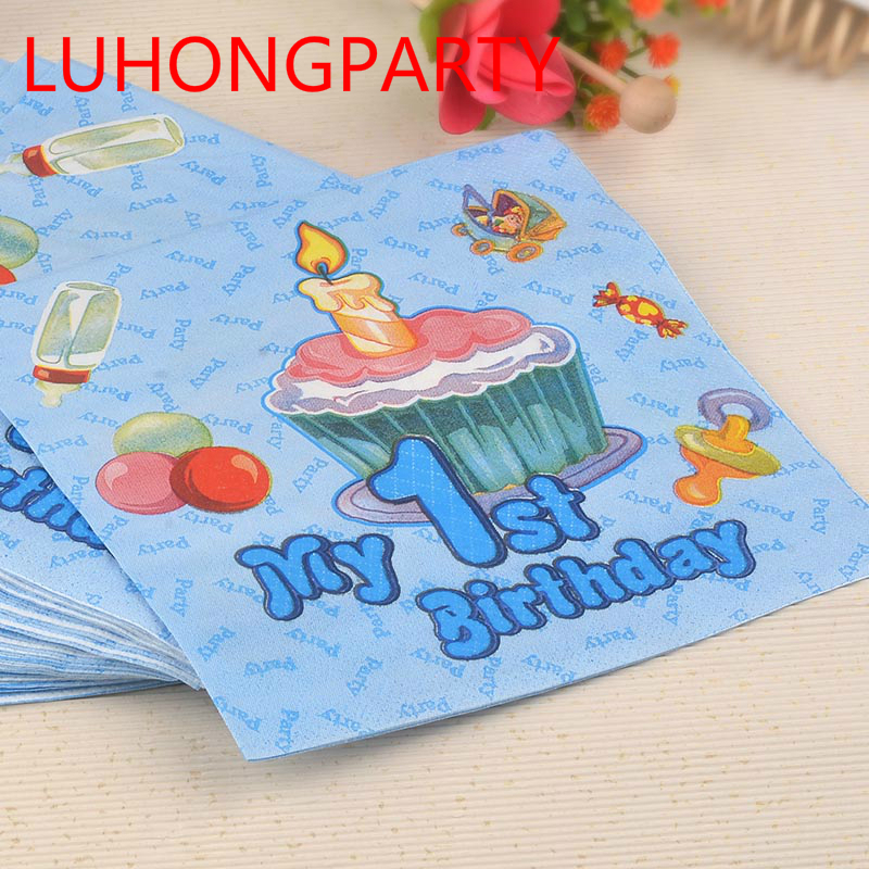 40pcs 1st Birthday 1 year old boy girl baby Food-grade Paper Napkin Tissue table accessory Birthday Party decoration LUHONGPARTY