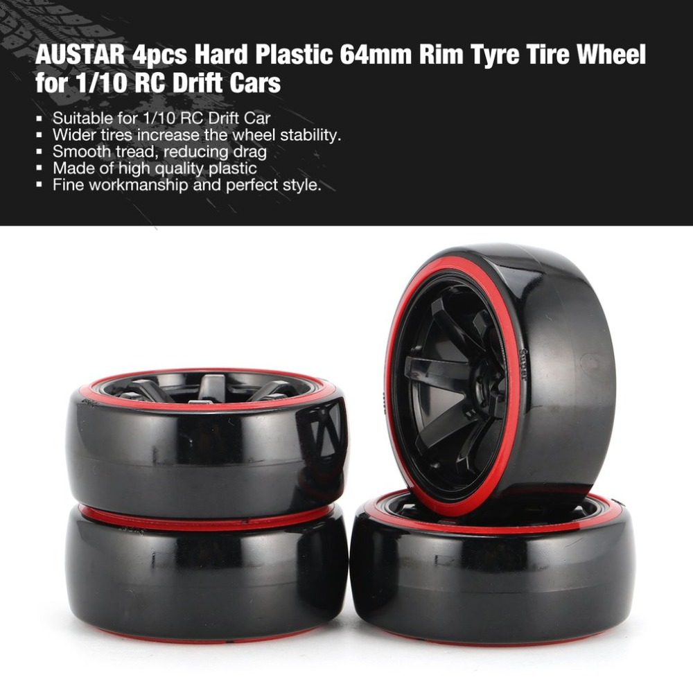 AUSTAR AX 4pcs 64mm Hard Plastic Rim Tyre Tire <font><b>Wheel</b></font> for <font><b>1/10</b></font> <font><b>RC</b></font> <font><b>Drift</b></font> Car Model HSP HPI Component Spare Parts Accessories fz image