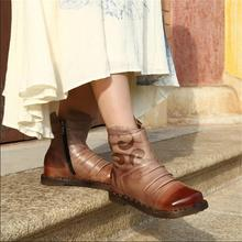 Winter leather vintage handmade shoes women boots low heels women shoes plus velvet boots thickening cotton-padded warm boots