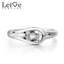 Leige Jewelry Topaz Solitaire Ring Natural White Topaz Ring Oval Cut Gems 925 Sterling Silver Fine Jewelry November Birthstone