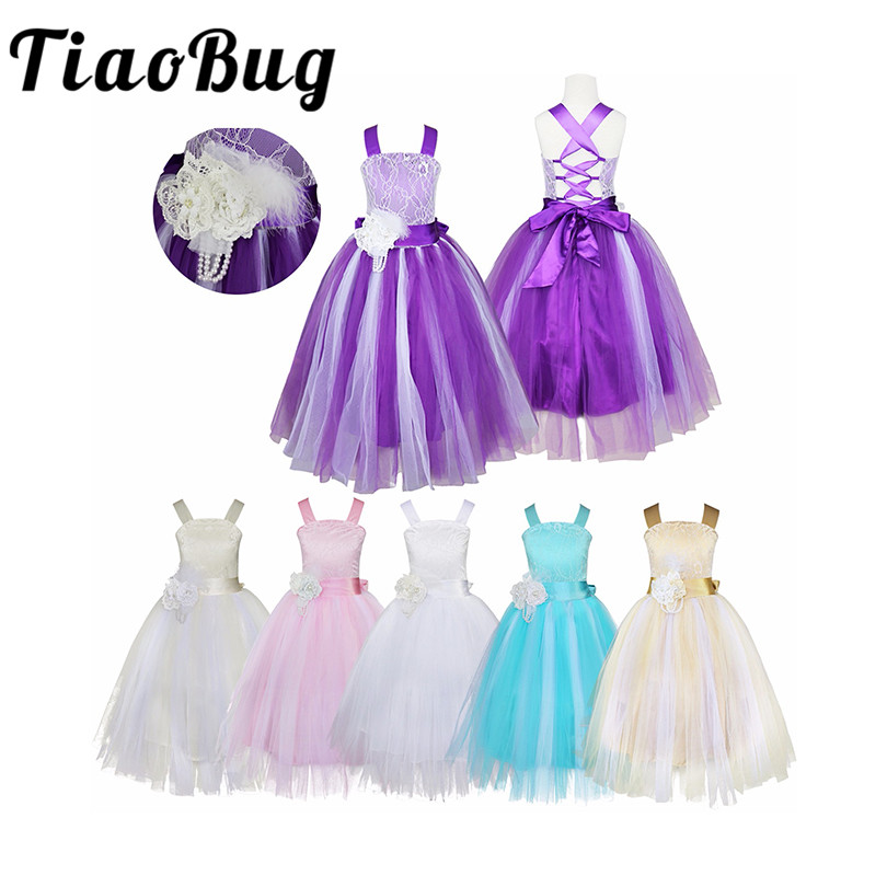 TiaoBug Girls Flower Girl Dress Princess Wedding Party Dresses Pageant Holiday Crossed Back Lace Formal Tulle Flower Girl Dress