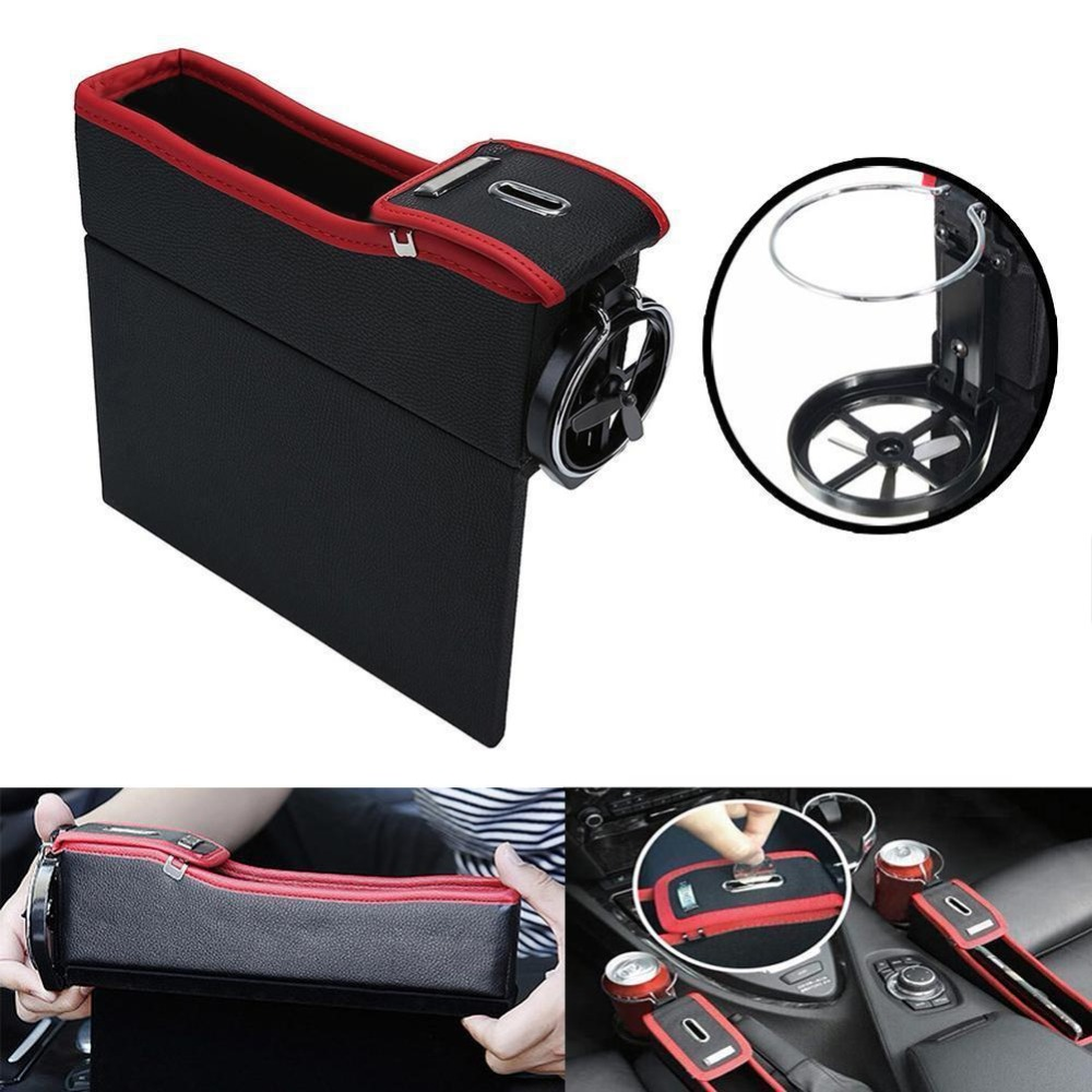 Car Seat Gap Crevice PU Leather Storage Box Organizer Cup Holder Coin Collector