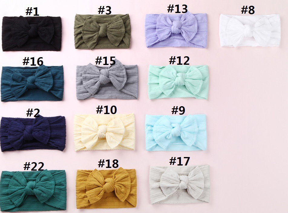 Image 2 - Newborn Kids Cable Knit Wide Nylon Headbands,Knotted Hair Bow Baby Ribbed Turban Headwraps,Children Girls Headwear 30PC/lot-in Hair Accessories from Mother & Kids
