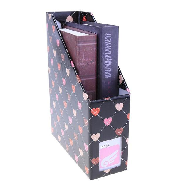 Kawaii Heart Paper Storage Box Desk Organizer File Book Magazine Holder  Office Stationery Container School Supply