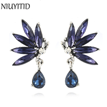 NIUYITID New Fashion Luxury Crystal Earrings For Women Bridal Jewelry Classic Female Party Jewelry Drop Shipping