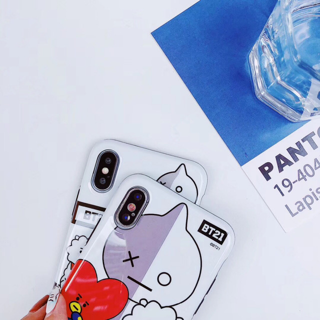 maosenguoji Korea LINE FRIENDS cute cartoon BT21 funny Mobile Phone Case for iphone 6 6s 6plus 7 8 plus X XR XS MAX fashion case