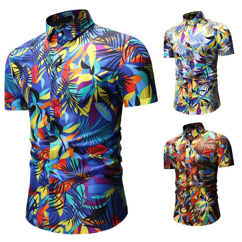 Teen Fashion Trend Men 'S Solid Color Turn-down Collar Short Sleeve Shirt Male Slim Blouse 2019 Foreign Trade New Style EBay Ali