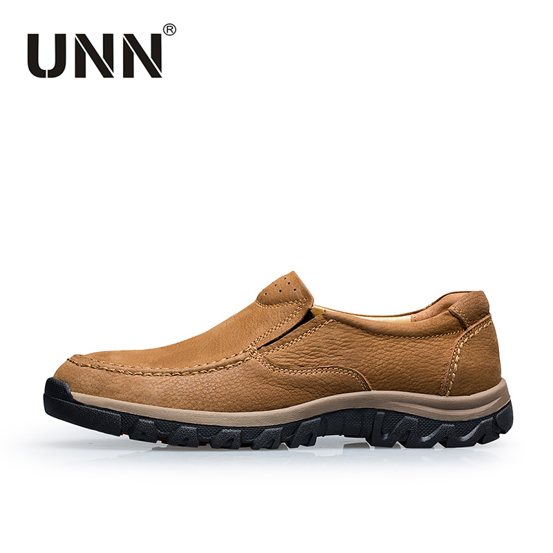 UNN Men s Business Shoes Slip On Genuine Leather Adult Shoes Men Waterproof Walking Shoes Brown
