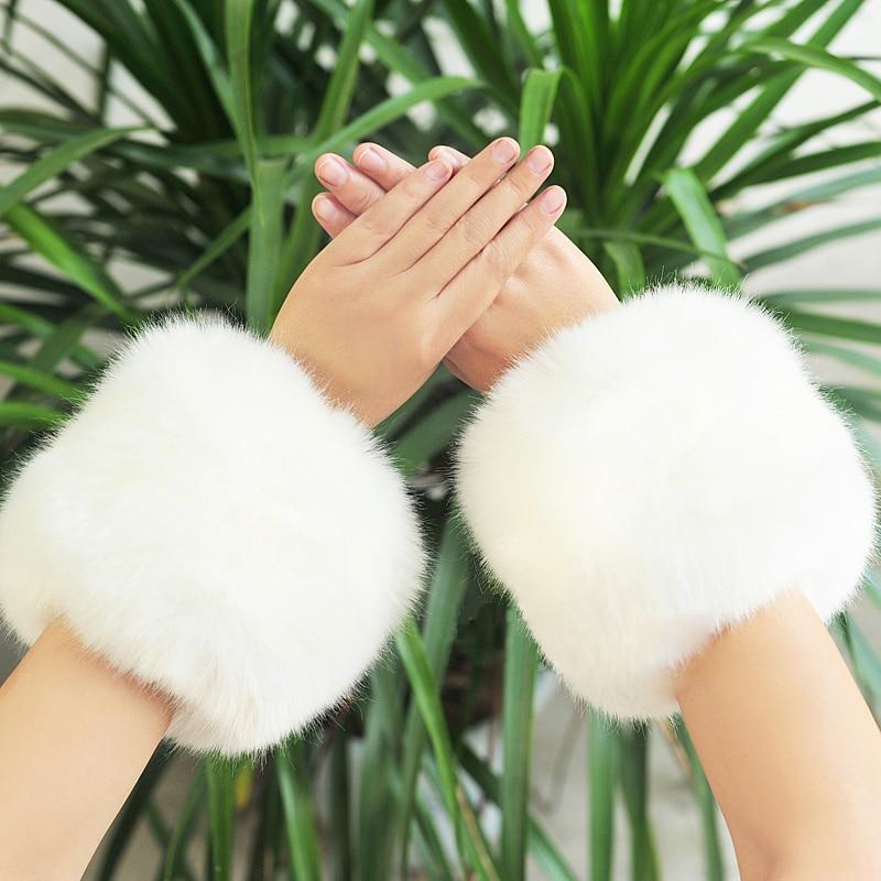2019 New Arrivals Women Winter Warm Hairy Cuff Faux Raccoon Fur Women Clothing Accessories Faux Fur Wrist Cuff
