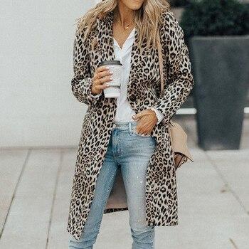 winter coat women Long Clothes Womens Autumn Long Sleeve Leopard Print Fashion Pocket Long Coat Outerwear manteau femme hiver jeans con blazer mujer