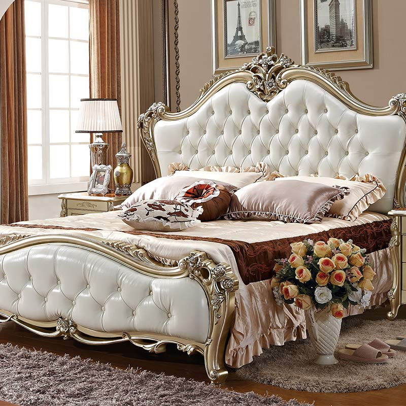 White & Ivory Baroque Upholstered Antique French Style Bed ...