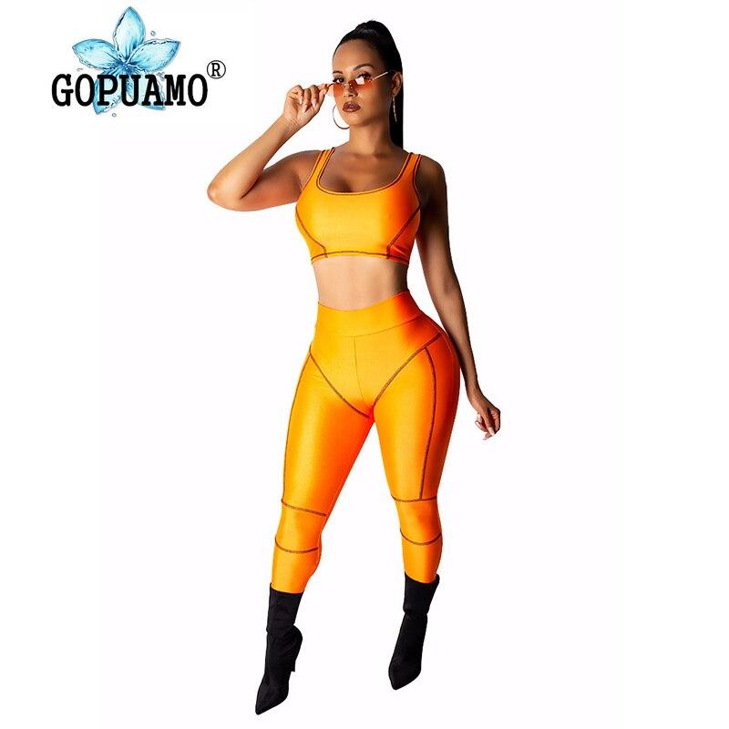 Néon vert Orange 2 pièces tenues pour les femmes été débardeur haut court et crayon Long pantalon survêtement décontracté deux pièces ensemble survêtement