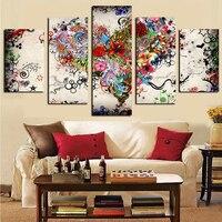 5 Painéis Abstrata Moderna Natural Flor Colorida Pintura HD de Impressão em Lona Cuadros Modular Poster Retrato Da Parede para Sala de estar