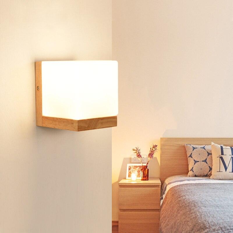 DX Modern Wood Wall Lights Bedroom Wall Lamp Hallway Wandlamp Bed Light  Nordic Home Lighting Sconce