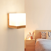 DX Modern Wood Wall Lights Bedroom Wall Lamp Hallway Wandlamp Bed Light Nordic Home Lighting Sconce