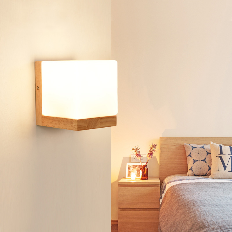 DX Modern Wood Wall Lights Bedroom Wall lamp Hallway Wandlamp Bed light nordic home lighting sconce vintage wall lamp